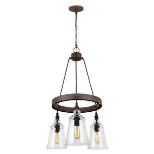 Gracie Oaks Sharwari 3-Light Wagon Wheel Chandelier