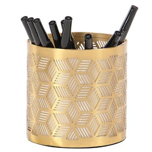 Renteria Modern Geometric Lattice Design Round Pencil Cup
