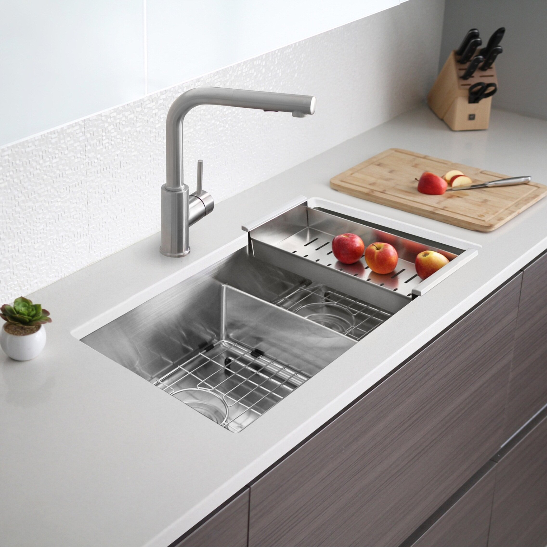 Stylish 32 L X 18 W Double Basin Undermount Kitchen Sink With Grids And Strainers Reviews Wayfair