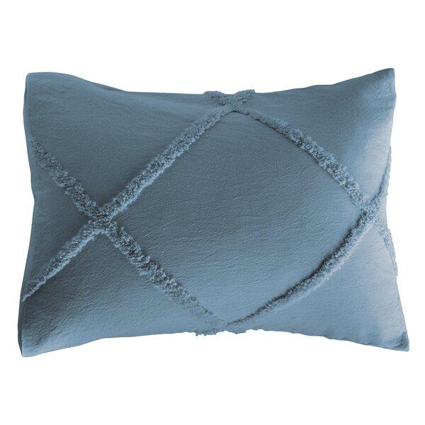 ECRU BURGUNDY BLUE PLUSH CHENILLE STRIPE STANDARD PILLOW SHAM