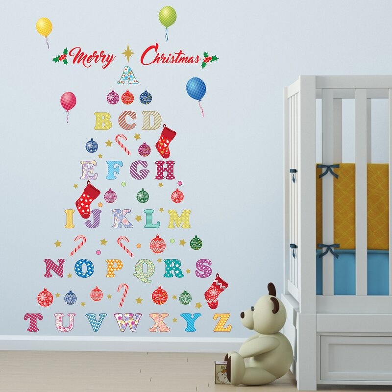 Nursery Alphabet Merry Christmas Tree Wall Decal