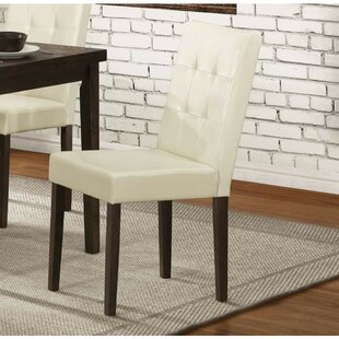 Ebern Designs Gusman Wooden Genuine Leather Upholstered Dining Chair (Set of 2)