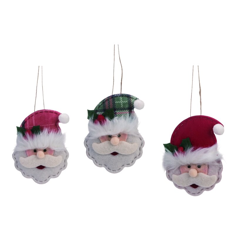 The Holiday Aisle 3 Piece Santa Head Hanging Figurine Ornament Set Wayfair