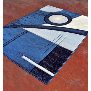 Affordable Light Blue/Black Area Rug ByRug Tycoon