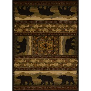 Sayre Black Bears Lodge Ivory Area Rug