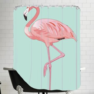 Peach & Gold Flamingo Single Shower Curtain