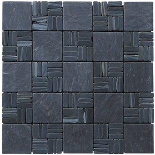 Landscape Wonder Alternate 2 X Natural Stone Mosaic Tile In Black Slate