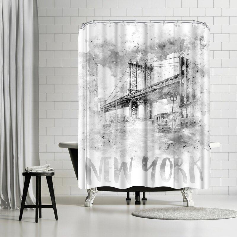 East Urban Home Melanie Viola Nyc Manhattan Bridge Watercolor Single Shower Curtain Wayfair