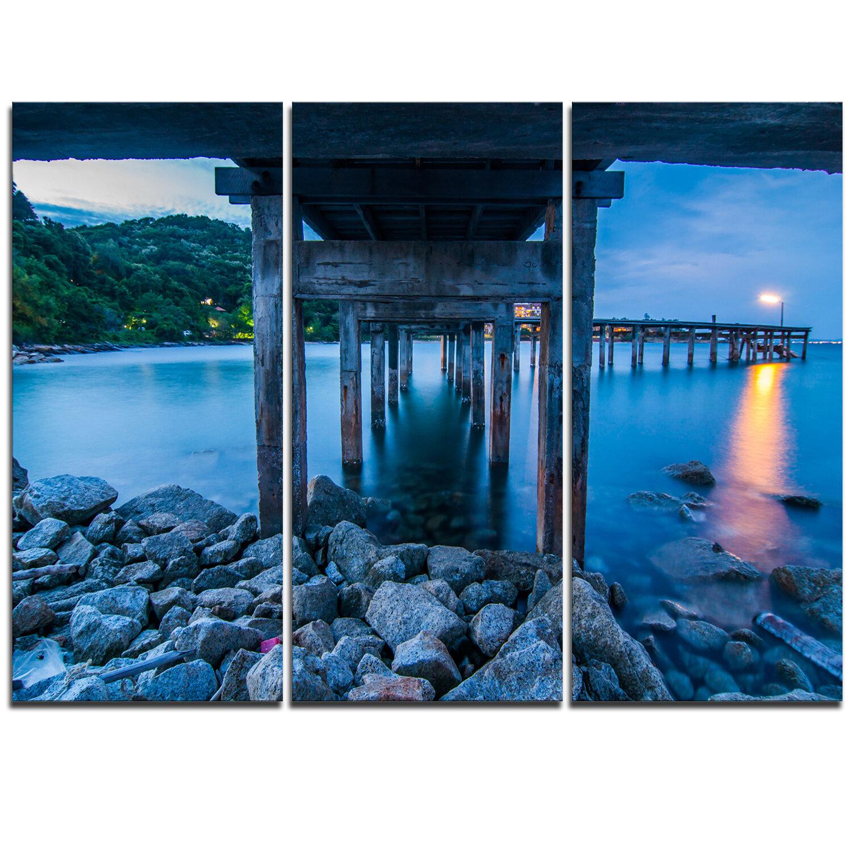 Designart Under Wood Bridge At Twilight 3 Piece Graphic Art On Wrapped Canvas Set Wayfair