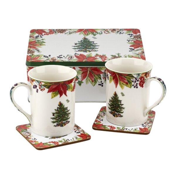 Christmas Tree 5 Piece Coffee Mug & Saucer Set