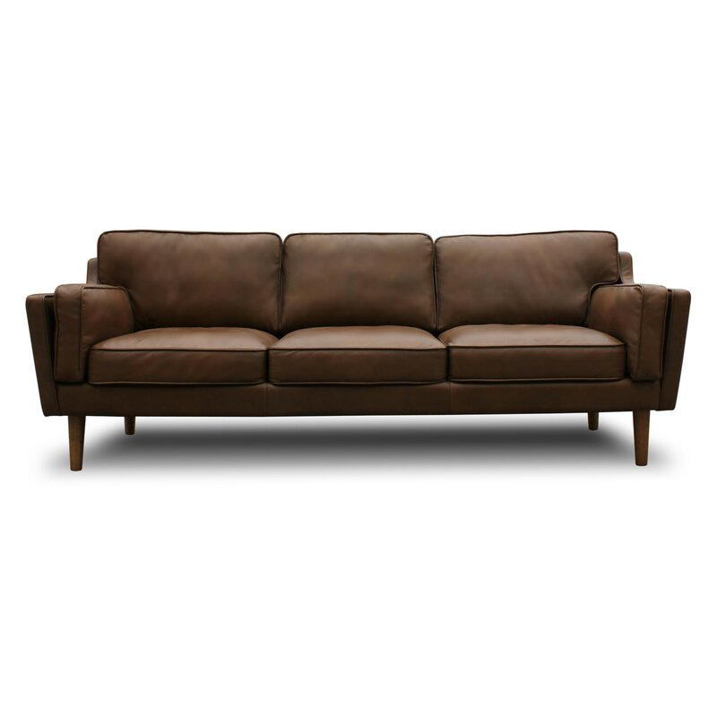 Mid Century Modern Leather Sofa: Kaufman Mid Century Modern Leather Sofa & Reviews