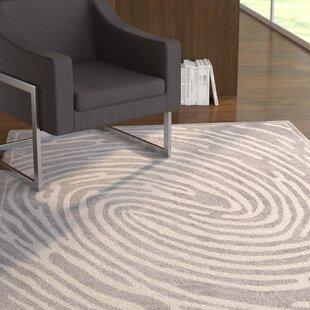 Compare & Buy Jenecke Delightful Modern Fingerprint Lines Light Gray/White Area Rug ByLatitude Run