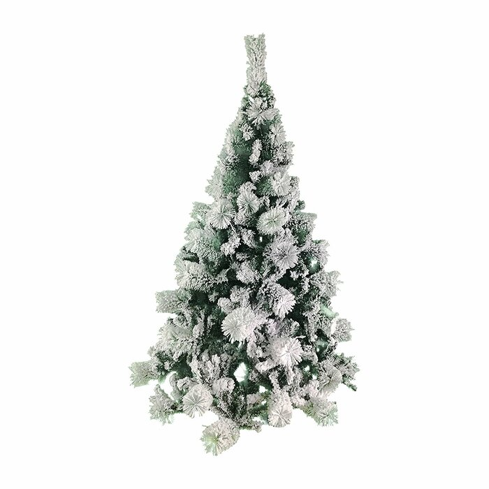 Snowing Christmas Tree.Snow Dusted 4 6 Green Pine Artificial Christmas Tree With Metal Stand
