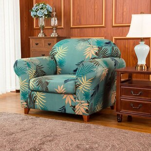 Ultra Soft Fitted Leaves Printed Box Cushion Armchair Slipcover By Symple Stuff