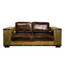 2-Sitzer Sofa Bookshelf aus Leder