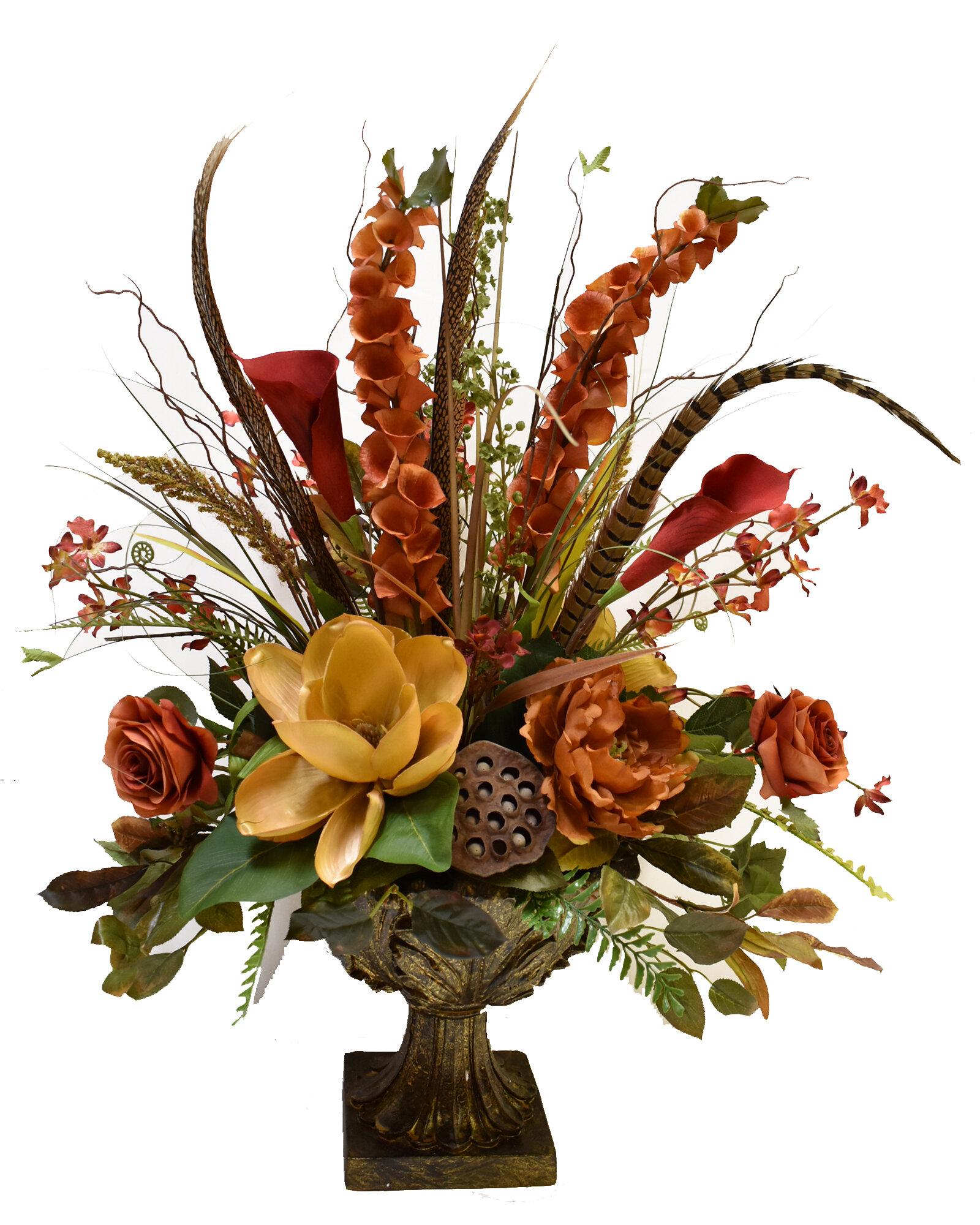 Floral Home Decor Grande Silk Flower Floral Arrangement In Decorative Vase Reviews Wayfair