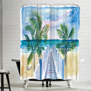 M Bleichner Caribbean Beach Walk Through Palms Single Shower Curtain