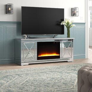 Zariyah Solid Wood TV Stand for TVs up to 70 with Electric Fireplace Included