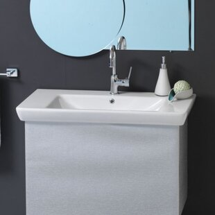 Comparison Porto Ceramic 34 Wall Mount Bathroom Sink with Overflow By CeraStyle by Nameeks
