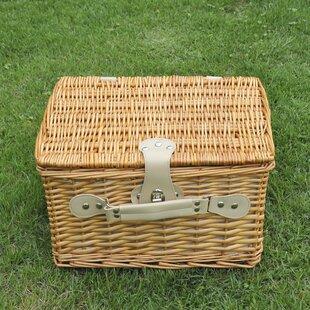 2 Person Luxury Willow Wicker Hamper Picnic Basket Set By Freeport Park