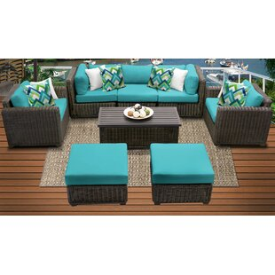 Mejia Outdoor 8 Piece Rattan Sectional Seating Group with Cushions