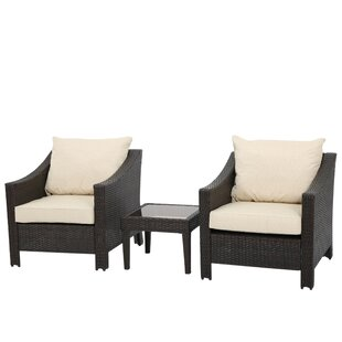 Billington 3 Piece Rattan Conversation Set with Cushion
