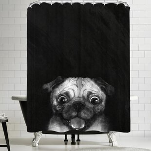 Laura Graves Snuggle Pug Single Shower Curtain