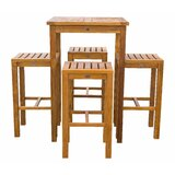 Vaughn Patio 5 Piece Teak Bar Height Dining Set