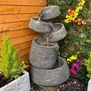 Stacked Slate Bowls Resin Water Feature With Light By Sol 72 Outdoor