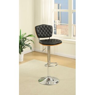 Luro Tufted Seat and Back Adjustable Height Bar Stool (Set of 2) Latitude Run