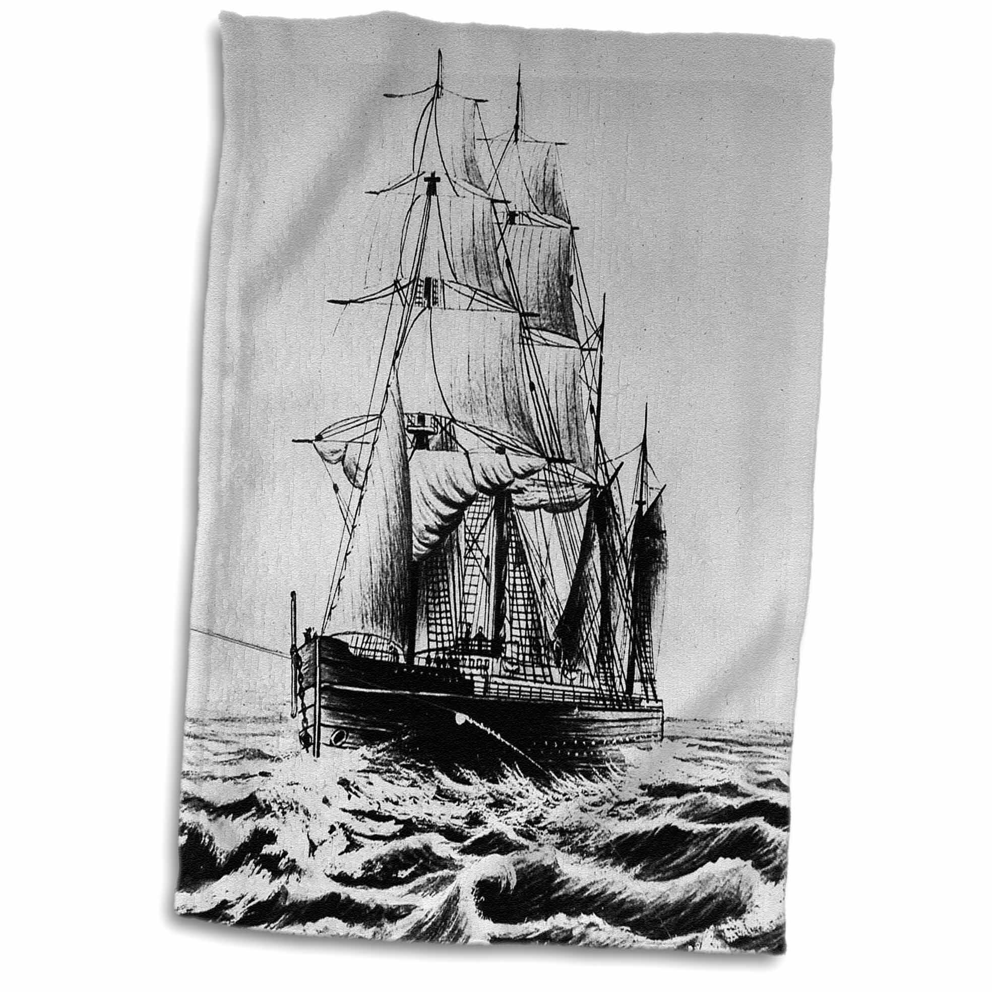 East Urban Home Peters Victorian Anchored Magic Lantern Maritime Tall Sailing Ship Hand Towel Wayfair