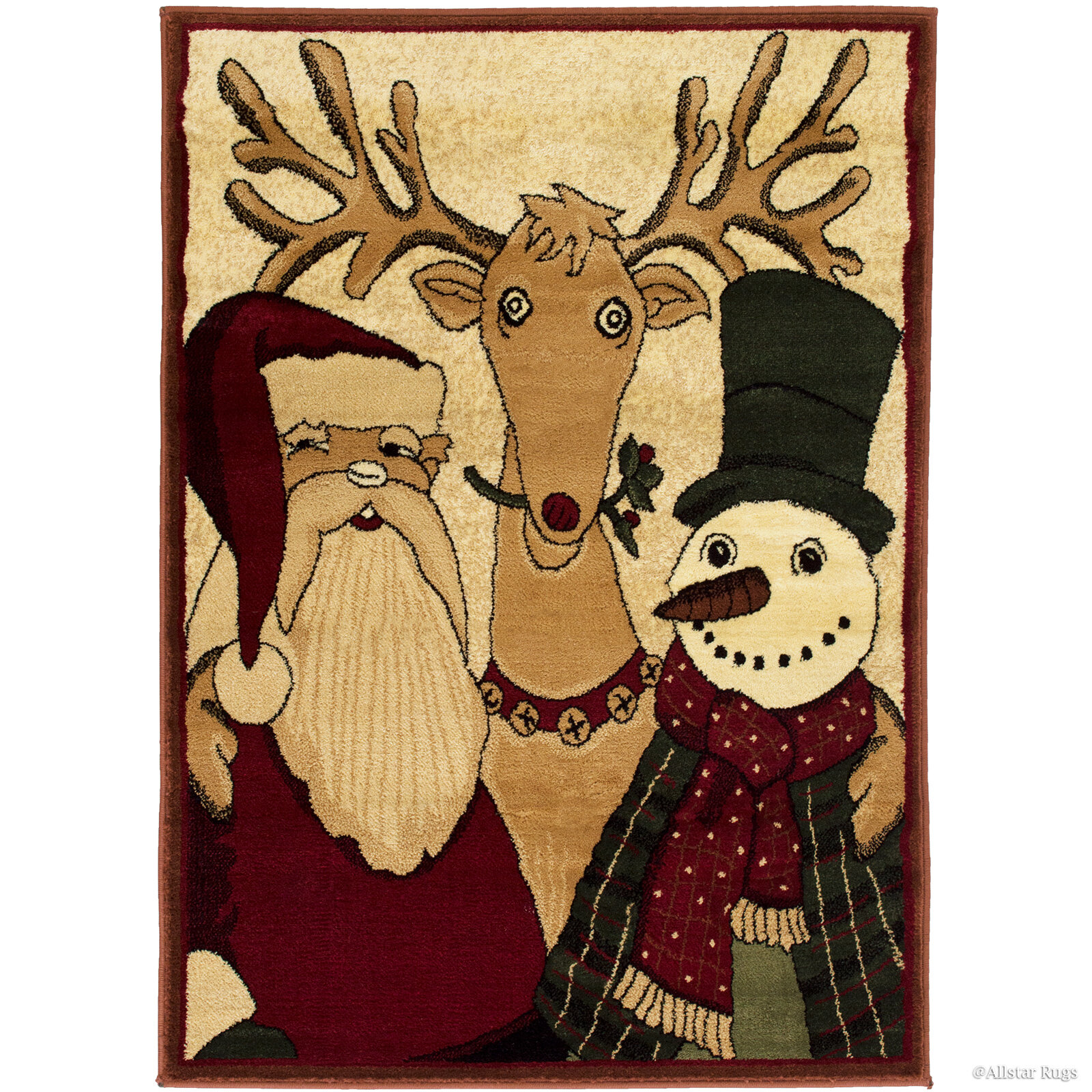 The Holiday Aisle Holiday Christmas Santa Claus With Friends Power Loom Red Rug Wayfair