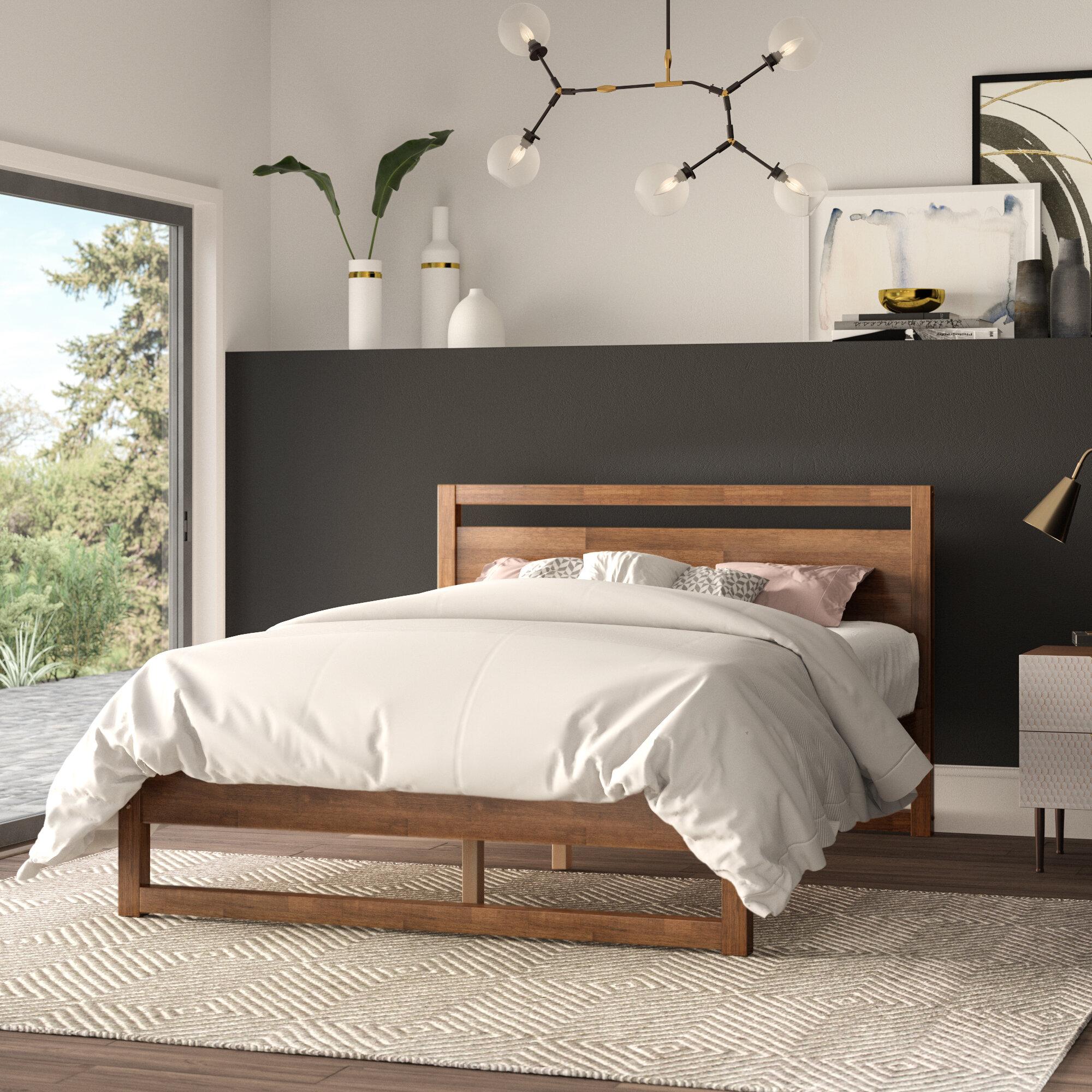 . Ellerbe Mid Century Modern Platform Bed