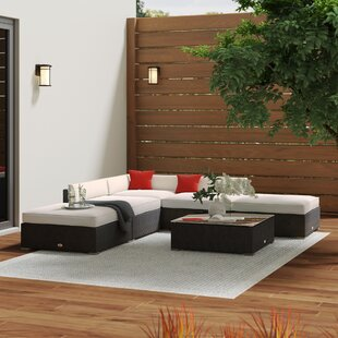 Hazen 6 Piece Rattan Sectional Set with Cushions