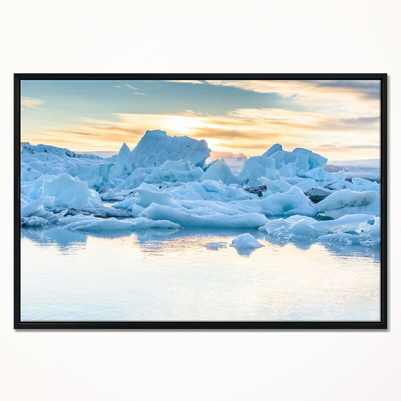 East Urban Home Icebergs In Glacier Lagoon Framed Photographic Print On Wrapped Canvas Wayfair