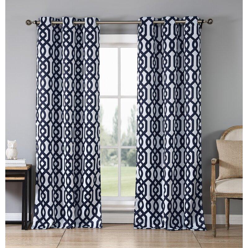 Loon Peak Morton Geometric Blackout Grommet Curtain Panels