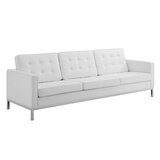 Zareen 91 Wide Faux Leather Recessed Arm Sofa by Wrought Studio™