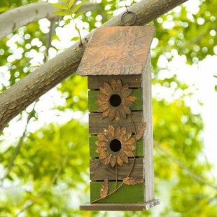 Glitzhome Wooden Flower 14.5 in x 5 in x 5 in Birdhouse