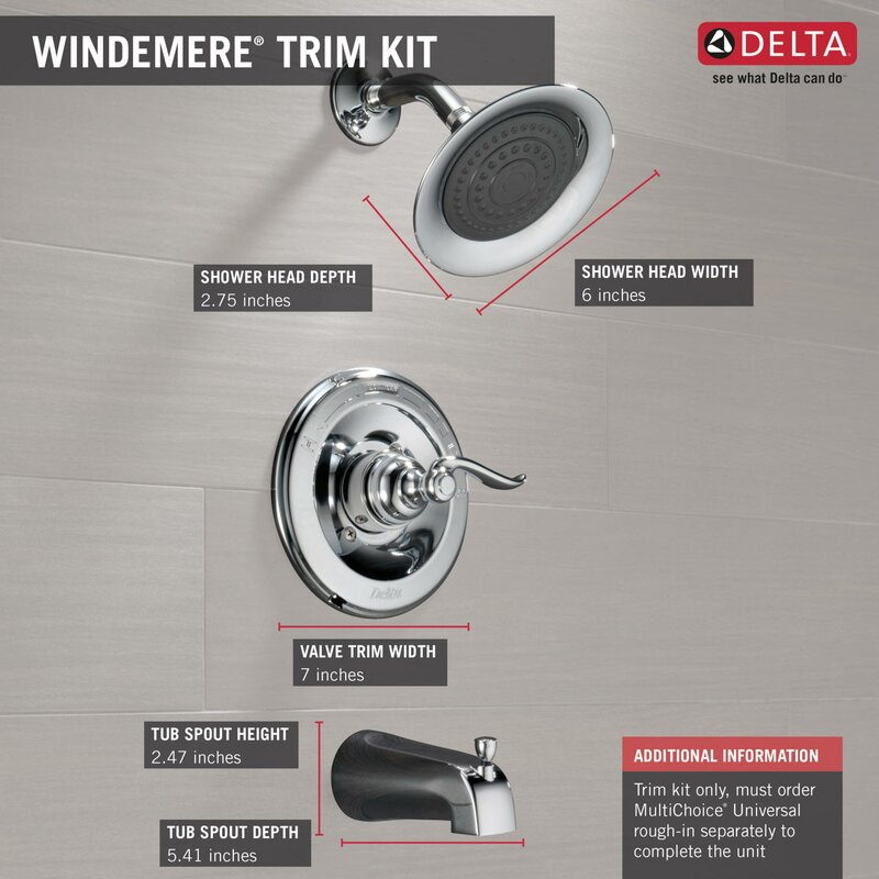 Delta Windemere Thermostatic Tub and Shower Faucet Trim with Lever ...