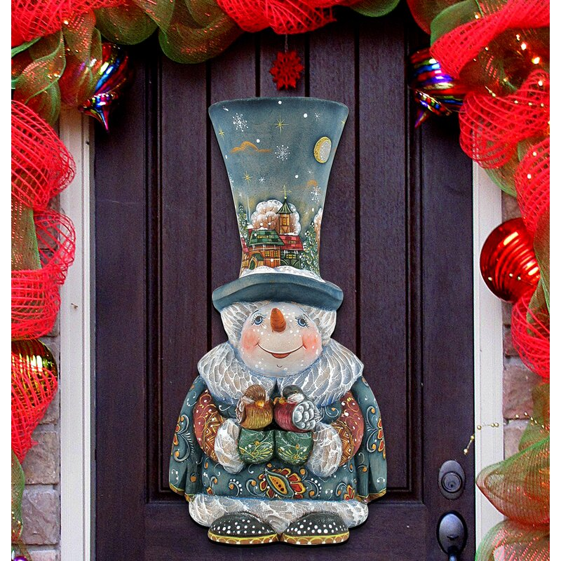 Old World Christmas Snowman Wooden Holiday Door/Wall Hanging Decor