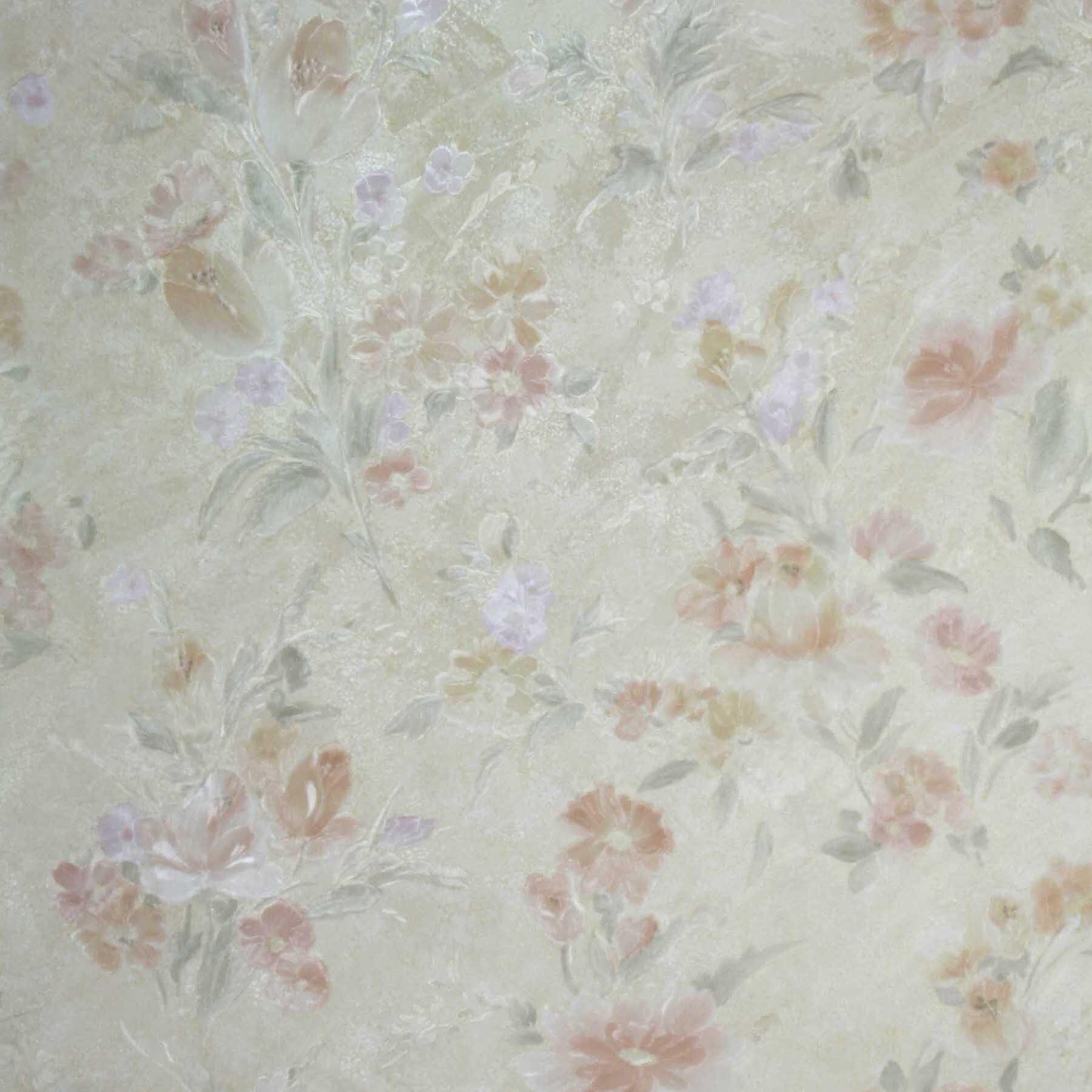 Brewster Home Fashions 33 X 20 5 Marlene Peach Floral Wallpaper