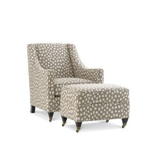 Bella Wingback Chair and Ottoman by Joe Ruggiero Collection