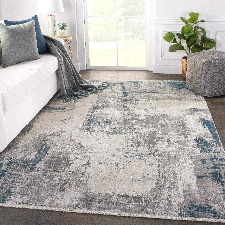 Arlo Abstract Grey Blue Area Rug