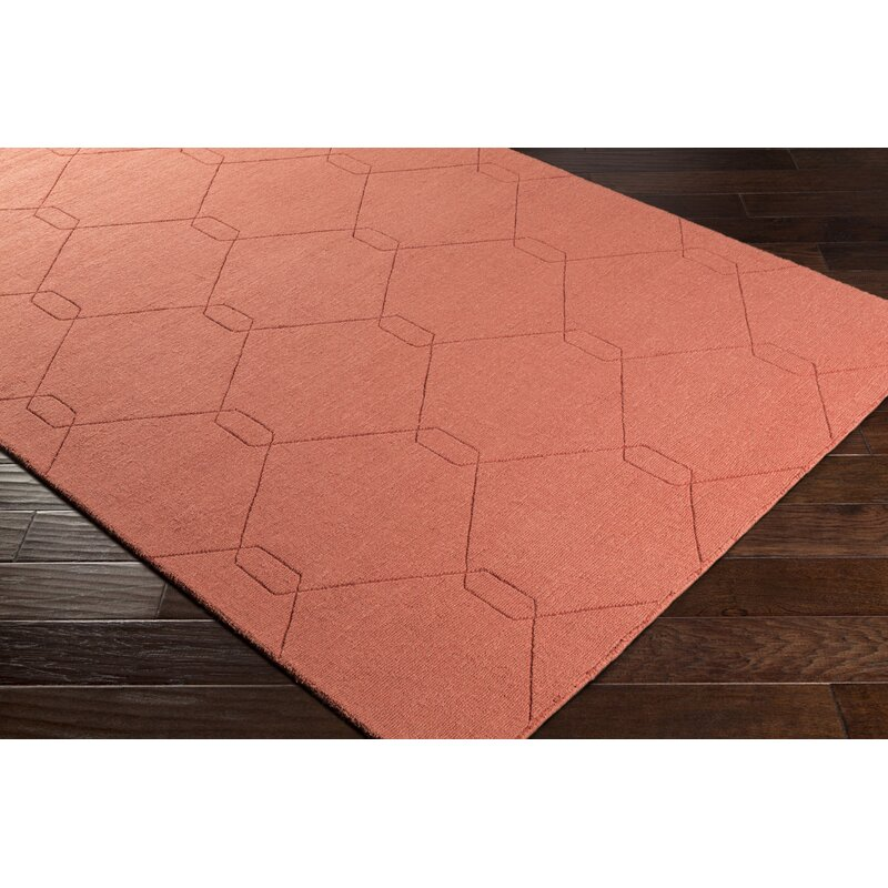 Wrought Studio Pulcova Wool Burnt Orange Area Rug Reviews Wayfair