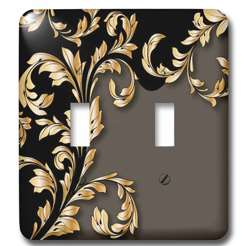 3drose Two Toned With A Wide Leafy Flourish 2 Gang Toggle Light Switch Wall Plate Wayfair
