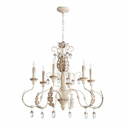 Arias 6 - Light Candle Style Classic / Traditional LED Chandelier Lark Manor Finish: Persian White