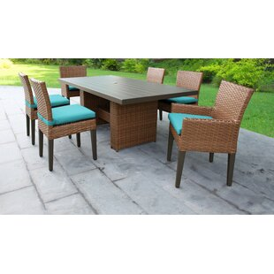 TK Classics Laguna 7 Piece Outdoor Patio Dining Set with Cushions