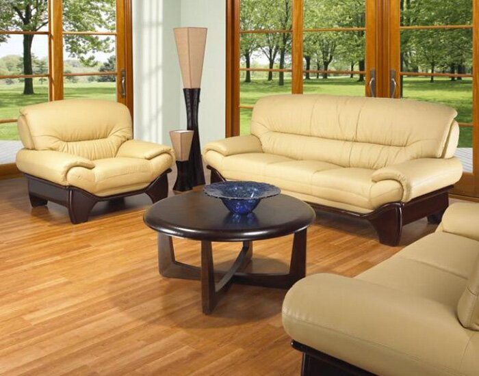 Red Barrel Studio Clauderson Leather 3 Piece Living Room Set Reviews Wayfair