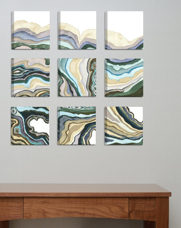 U0027Geode Abstract Wavesu0027 9 Piece Canvas Wall Art Set. U0027