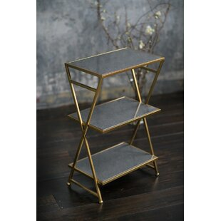 Leota Metal and Stone 3 Tiered End Table